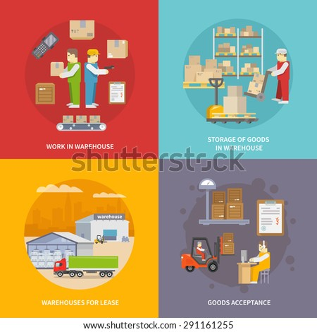 Warehouse design concept set with goods acceptance and storage flat icons isolated vector illustration - stock vector