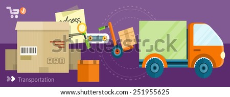 Warehouse distribution delivery in different locations. The technique works with boxes parcels. Delivery shipping concept in flat design on banners - stock vector