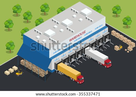 Warehouse equipment. Shipping and delivery flat elements. Workers boxes forklifts and cargo transport. Transport system delivery process. Vector isometric illustration. - stock vector