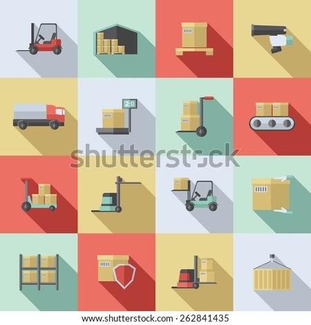Warehouse flat icons set with cargo transportation delivery supply isolated vector illustration - stock vector