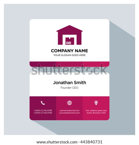 Warehouse icon. Business card template