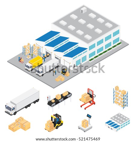 Warehouse industrial area isometric with cars and trucks servicing warehouse colored in volumetric style vector illustration