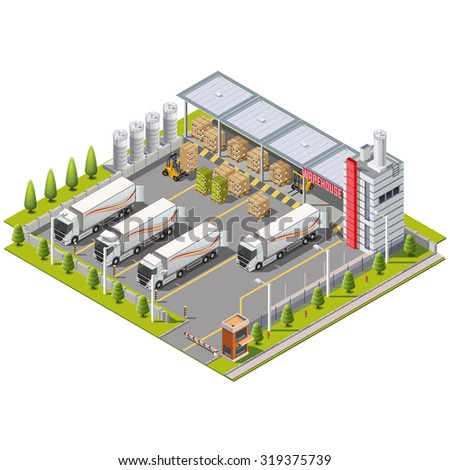 Warehouse Industrial area with area for loading and unloading, shipping and delivery, transportation and building. Isolated vector 3D isometric concept