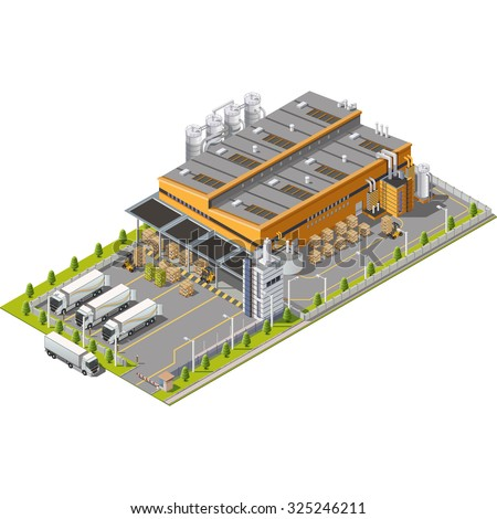 Warehouse Industrial area with seating for loading and unloading, shipping and delivery, transportation and building. Isolated vector 3D isometric concept - stock vector