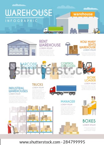 Warehouse infographics set with goods delivery and merchandise symbols vector illustration - stock vector