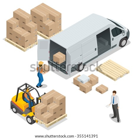 Warehouse. Loading and unloading from warehouse. Delivery and logistic, storage and truck, transportation industry, delivery and logistic. Vector isometric illustration. - stock vector