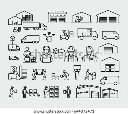 Warehouse logistics buildings, cargo trucks, forklifts and workers vector line icons set