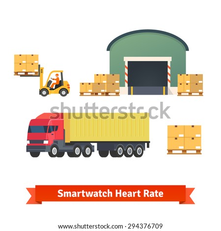 Warehouse, logistics, trailer truck, loading cargo and goods delivery. Flat vector icon set. - stock vector