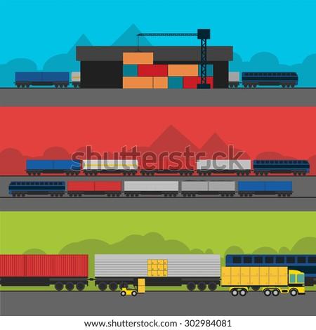 Warehouse management at railway depots. Isometric railway, vector illustration. Warehouse railway process. Logistic process, cargo transportation, railway. Railway storage, delivery process. Warehouse - stock vector
