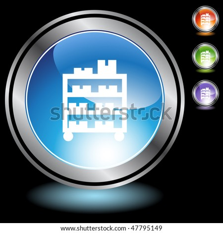 Warehouse rack cart icon isolated on a white background. - stock vector