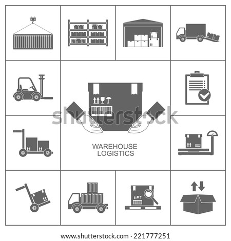 Warehouse set of storage and logistic black icons vector illustration - stock vector
