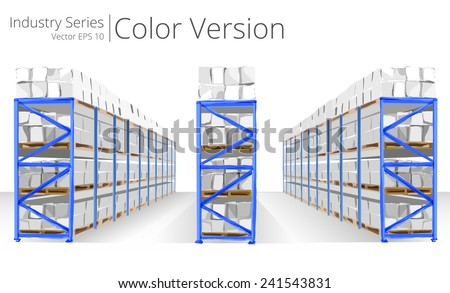 Warehouse Shelves. Vector illustration of Warehouse Shelves, Color Series. - stock vector