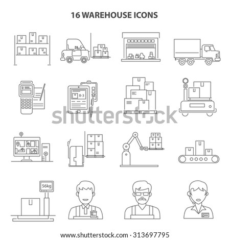 Warehouse shipment and delivery icons outline set isolated vector illustration - stock vector
