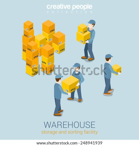 Warehouse storage delivery service flat 3d web isometric infographic concept vector. Courier loader mover working with goods boxes. Process prepare for delivery. Creative people collection. - stock vector