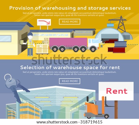Warehouse storage service product. Warehousing and rent space, service storage, transportation and logistic, delivery container, distribution package illustration - stock vector