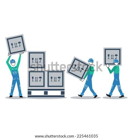 Warehouse workers vector flat design - stock vector
