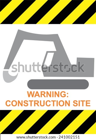 WARING: CONSTRUCTION SITE dredge working, vector, isolated on white - stock vector