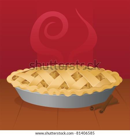 Warm Apple Pie - vector - stock vector