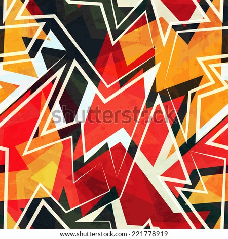 warm color geometric seamless pattern - stock vector