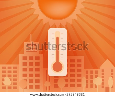 Warm day in the city with thermometer. Vector summer concept. - stock vector