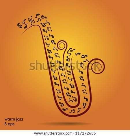 warm jazz background, vector - stock vector