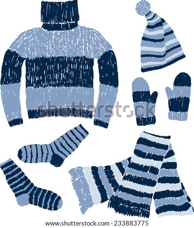 warm knitwear - stock vector