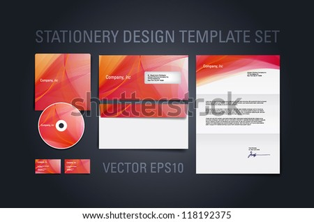 Warm red vector stationery design template set