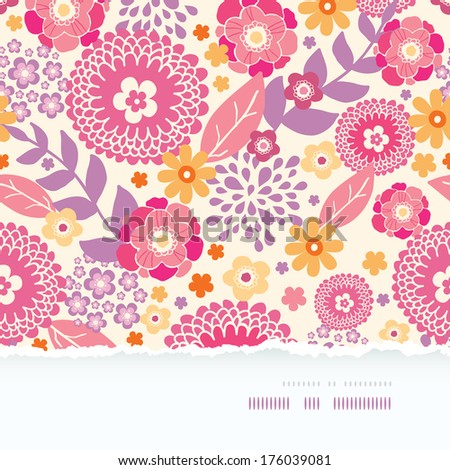 Warm summer plants frame horizontal torn seamless pattern background