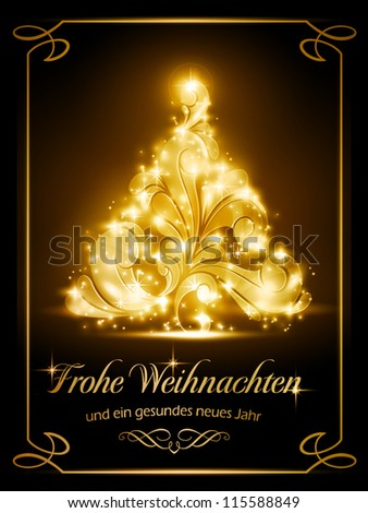 "Warmly sparkling Christmas tree light effects on dark brown background with the text ""Frohe Weihnachten und ein gesundes neues Jahr"", German for ""Merry Christmas and a Happy New Year"". - stock vector"