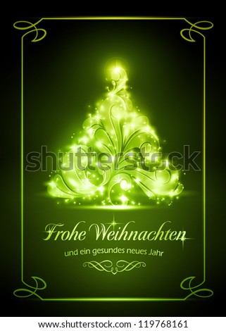 "Warmly sparkling Christmas tree on dark green background of 5x7 inch, with the text ""Frohe Weihnachten und ein gesundes neues Jahr"", German for ""Merry Christmas and a Happy New Year"". - stock vector"
