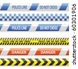 warning and police stripes - stock vector
