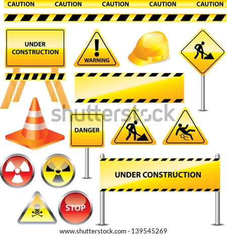 warning and under construction signs vector set - stock vector