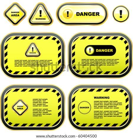 Warning banner set. Vector template. - stock vector