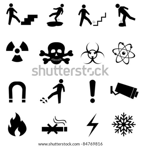 Warning, caution and danger signs icon set - stock vector