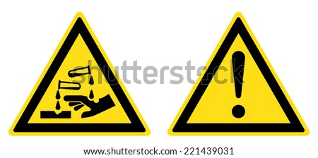 Warning Corrosive substance sign, General warning sign (eps 10) - stock vector