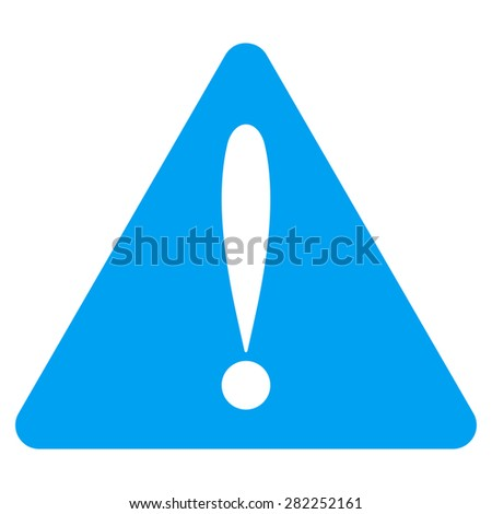 Warning error icon from Basic Plain Icon Set. Style: flat vector image, blue color, rounded angles, white background. - stock vector