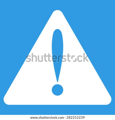Warning error icon from Basic Plain Icon Set. Style: flat vector image, white color, rounded angles, blue background. - stock vector