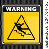warning falling off the stairs - stock vector