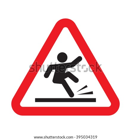 warning falling sign - stock vector