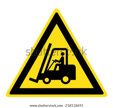 Warning Forklift trucks and other industrial vehicles sign (eps 10) - stock vector