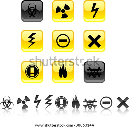 Warning  icon set. Vector illustration.