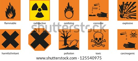 Warning labels on the products. - stock vector