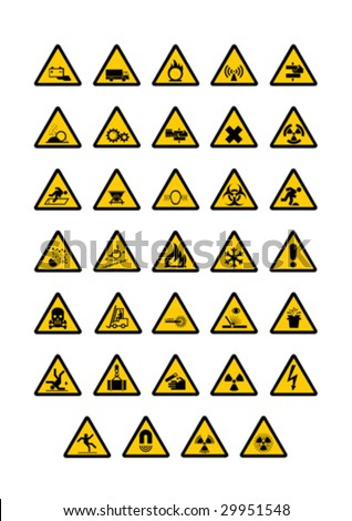 Warning pictogram on white background. Vector illustration. - stock vector