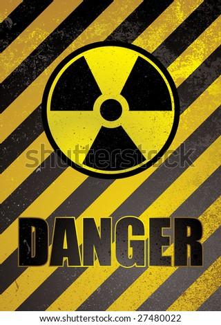 Warning poster in yellow and black stripes with nuclear image