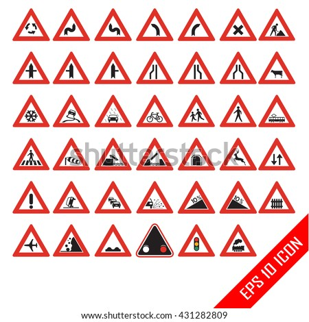 Warning road signs. Set of triangular warning symbols. Traffic-Road Sign Collection. Traffic signs. Detailed and fully editable road icons. - stock vector
