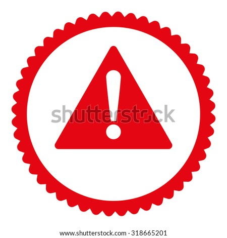 Warning round stamp icon. This flat vector symbol is drawn with red color on a white background. - stock vector