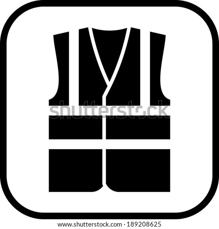 Warning safety vest vector icon - stock vector