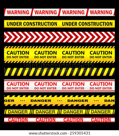 Warning, security and caution ribbons and tapes set for safety, crime or forbidden design - stock vector