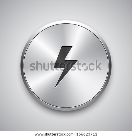 Warning shiny button. Vector illustration.  - stock vector