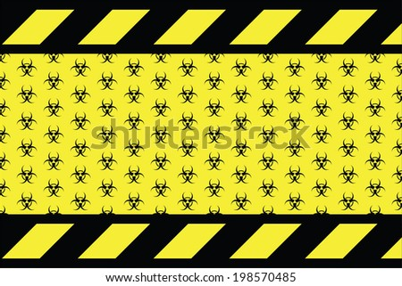 Warning sign for bio hazard on the yellow background  - stock vector
